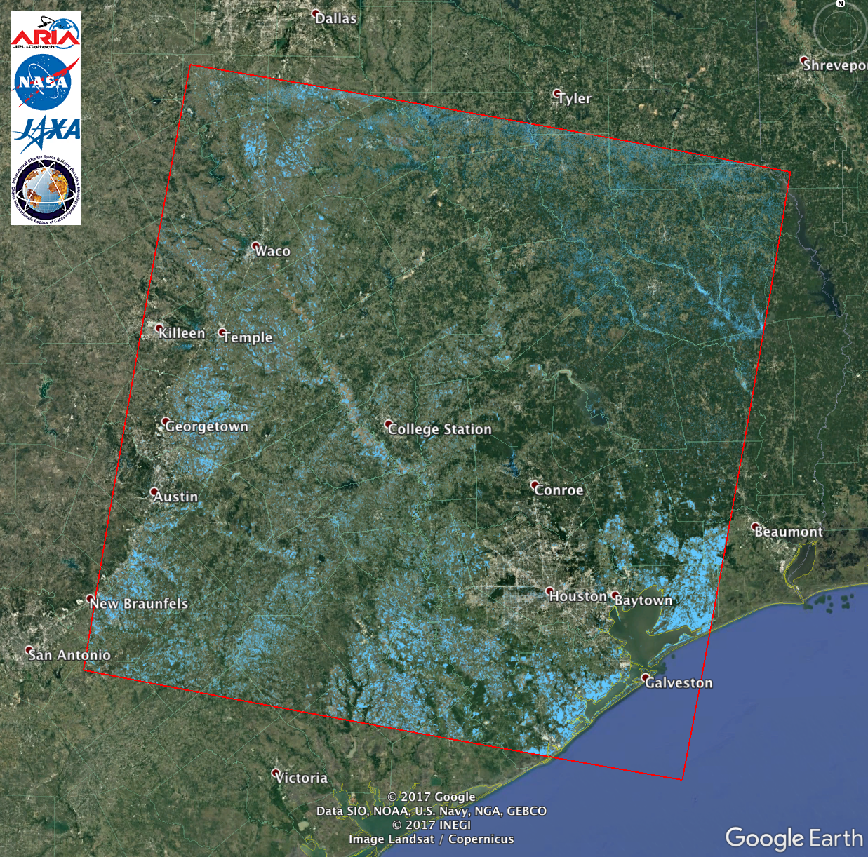 Map Of Texas Flooding ARIA ALOS 2 Flood Proxy Map of Texas Flooding from Harvey | NASA