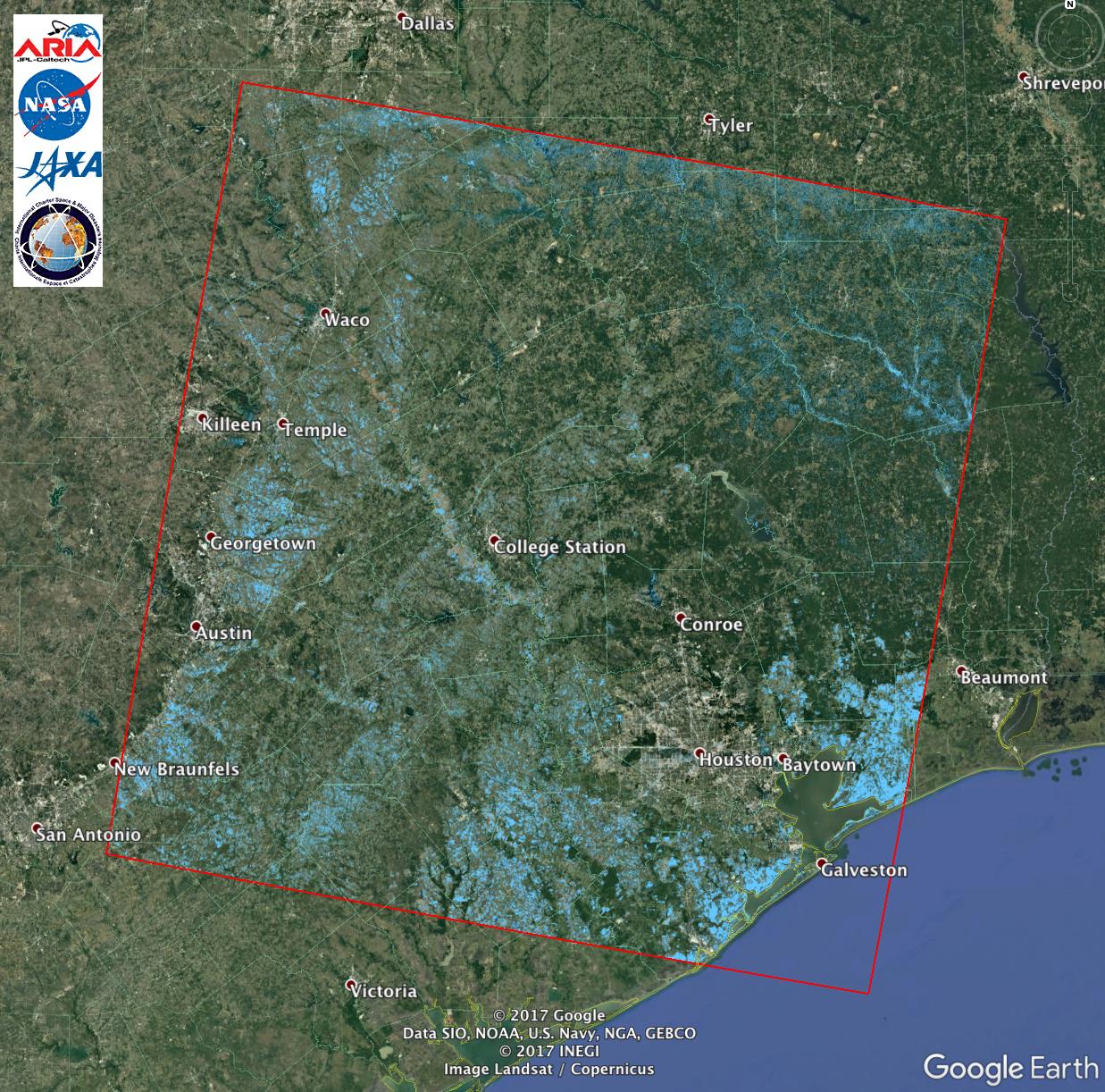 Map Of Texas Floods ARIA ALOS 2 Flood Proxy Map of Texas Flooding from Harvey | NASA