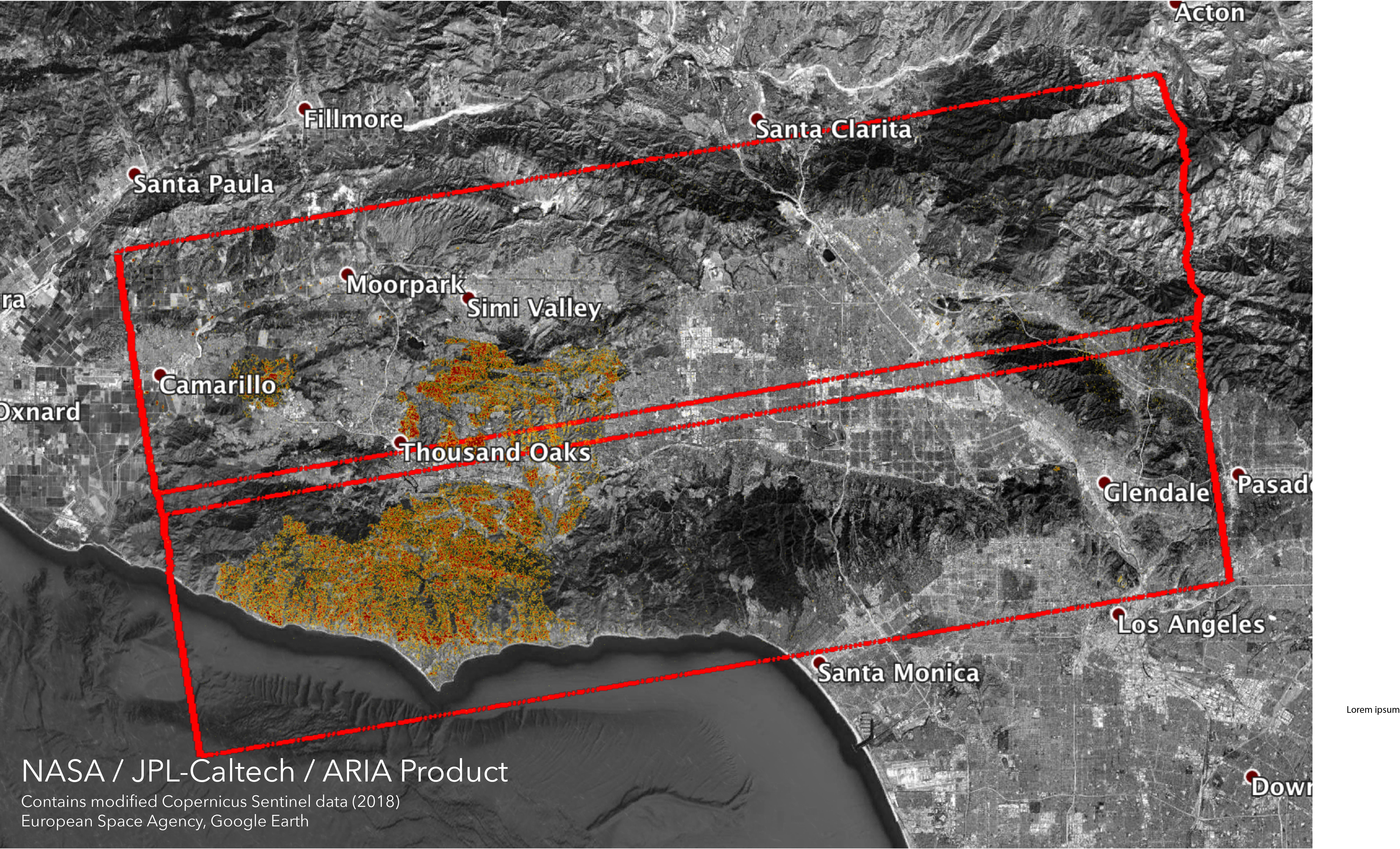 Woolsey Fire - ARIA Damage Proxy Map v0.5 | NASA Earth ... on california powerhouse fire map, california fire area, california fire zone map, california interstate map and towns, california state map with cities and towns, california fire history map, calfire google, california fires map oregon, california active fires map, california earthquake fault line map,