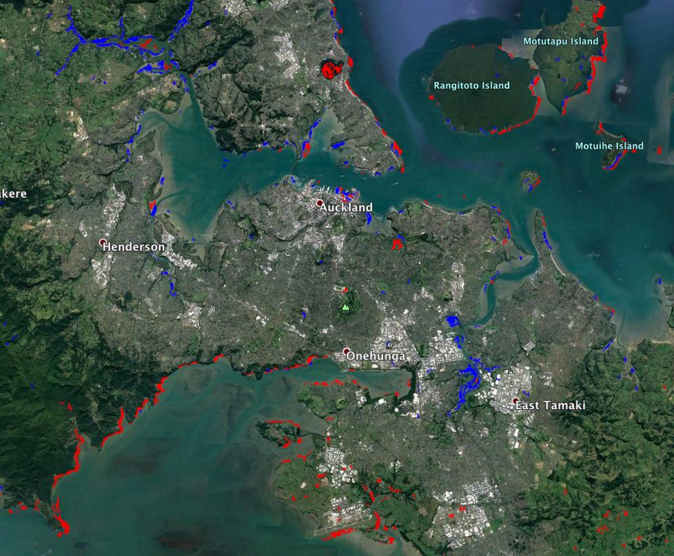 Map Of Auckland New Zealand.Sar Flood Proxy Map For Auckland New Zealand Nasa Earth Science