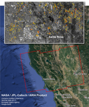 This is a Damage Proxy Map depicting areas in Northern California