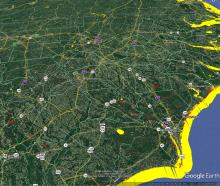 This MODIS flood detection map from 9/19/18 shows the 1-day flood product (in red), on top of the 1-day surface water product (in yellow) in Google Earth.