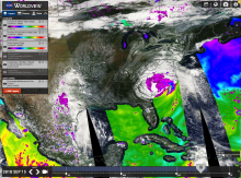 LANCE imagery of water vapor, precipitation, and wind speed in Hurricane Florence from 9/15/18 viewed in NASA Worldview.