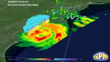 GPM Core Observatory overpass of Hurricane Florence from 9/14/18 at 18:36 UTC. Ground track shows rain rates (mm/hr) from the GPM Microwave Imager(GMI) instrument, 3D swath shows rain rates in the atmospheric column from the Dual-frequency Precipitation