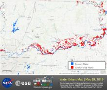 This map shows water extent along the Missouri River and surrounding regions on May 29th, 2019. Areas with likely flooding detected are shown in red.